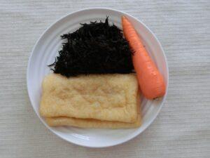 油揚げとニンジン、ヒジキの煮物1