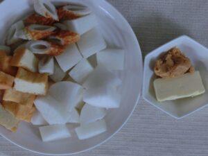 大根と厚揚げとちくわの味噌バター煮2