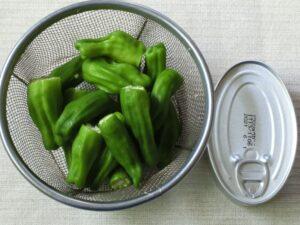 イワシの味付け缶とシシトウガラシの佃煮風炒め煮1