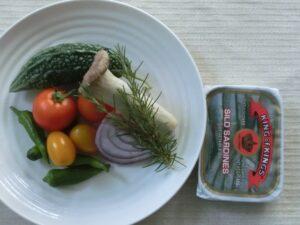 オイルサーデンと夏野菜のホイル焼き1